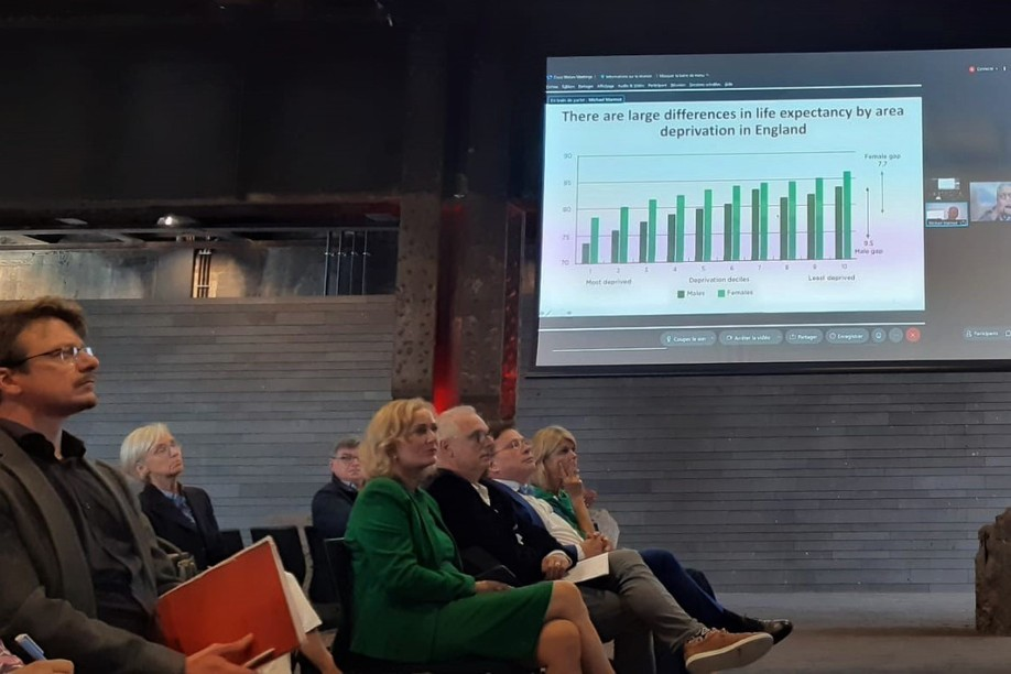 """Health Minister Paulette Lenert, Health Director Jean-Claude Schmit and Statec Director Serge Allegrezza attended the presentation of the first results of the """"Health for All"""" research seminar on Monday 20 September. Photo: MSAN"""