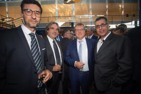Daniel Soriano (Proximus), Yves De Pril (Conostix), Jean-Marc Servais (Conostix) et Romain Fouarge (Ministère de l'Economie) ((Photo: Nader Ghavami))