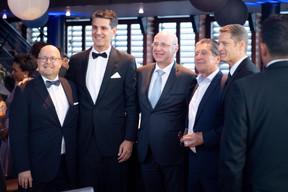 Marco Houwen (Lu-Cix), David Zimmer (Inexio), Jean-Marie Spaus (ministère de l'Économie), Edouard Wangen (LuxConnect) et Claude Demuth (Lu-Cix). ((Photo: Nader Ghavami))