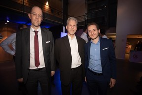 Gilles Massen (RESTENA), Marco Bertame (Proximus) et William Malingrey (Proximus) ((Photo: Nader Ghavami))