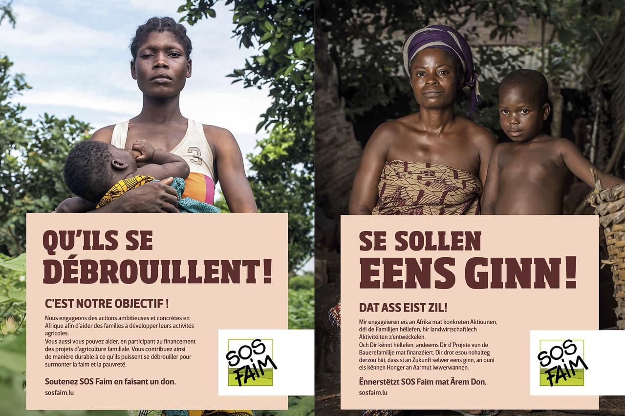 La campagne montrait sur des affiches des personnes de couleur avec des messages en français et en luxembourgeois disant «Qu'ils se débrouillent!». Les réactions des gens n'ont pas tardé, s'insurgeant contre les propos affichés. (Photo: SOS Faim)