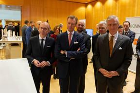 Luc Frieden (Chambre de commerce), S.A.R. le Grand-Duc, Étienne Schneider (vice-Premier ministre), Didier Reynders (vice-Premier ministre de Belgique) et S.M. le Roi des Belges ((Photo: Emmanuel Claude / SIP))