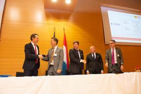 Vincent Blondel (Université Catholique de Louvain), Ulf Nehrbass (LIH), Marc Schiltz (FNR), Stéphane Pallage (Université de Luxembourg) et Philippe Durieux (Sopartec) ((Photo: Anthony Dehez))
