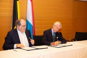 Yvon Englert (Université Libre de Bruxelles) et Paul Mousel (CHL) ((Photo: Anthony Dehez))