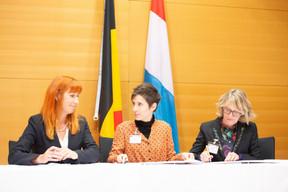 Pascale Delcomminette (Wallonie-Bruxelles International), Ainhoa Achutegui (Centre culturel de rencontre Abbaye de Neumünster) et Françoise Poos (Centre culturel de rencontre Abbaye de Neumünster) ((Photo: Anthony Dehez))