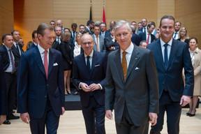 S.A.R. le Grand-Duc, Luc Frieden (Chambre de commerce) et S.M. le Roi des Belges ((Photo: Anthony Dehez))