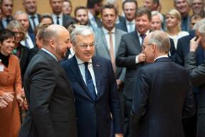 Étienne Schneider (vice-Premier ministre), Didier Reynders (vice-Premier ministre de Belgique) et Luc Frieden (Chambre de commerce) ((Photo: Anthony Dehez))