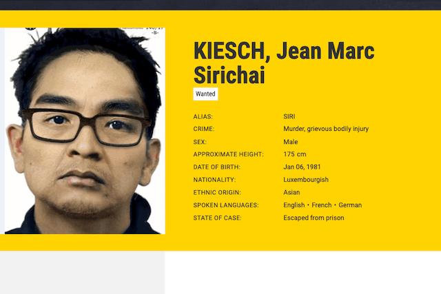 A most-wanted search card issued by Europol for Jean-Marc Sirichai Kiesch Photo: Europol