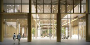 Le hall d'entrée est un vaste volume largement en relation avec la rue. ((Illustration: A2M-Moreno Architecture))