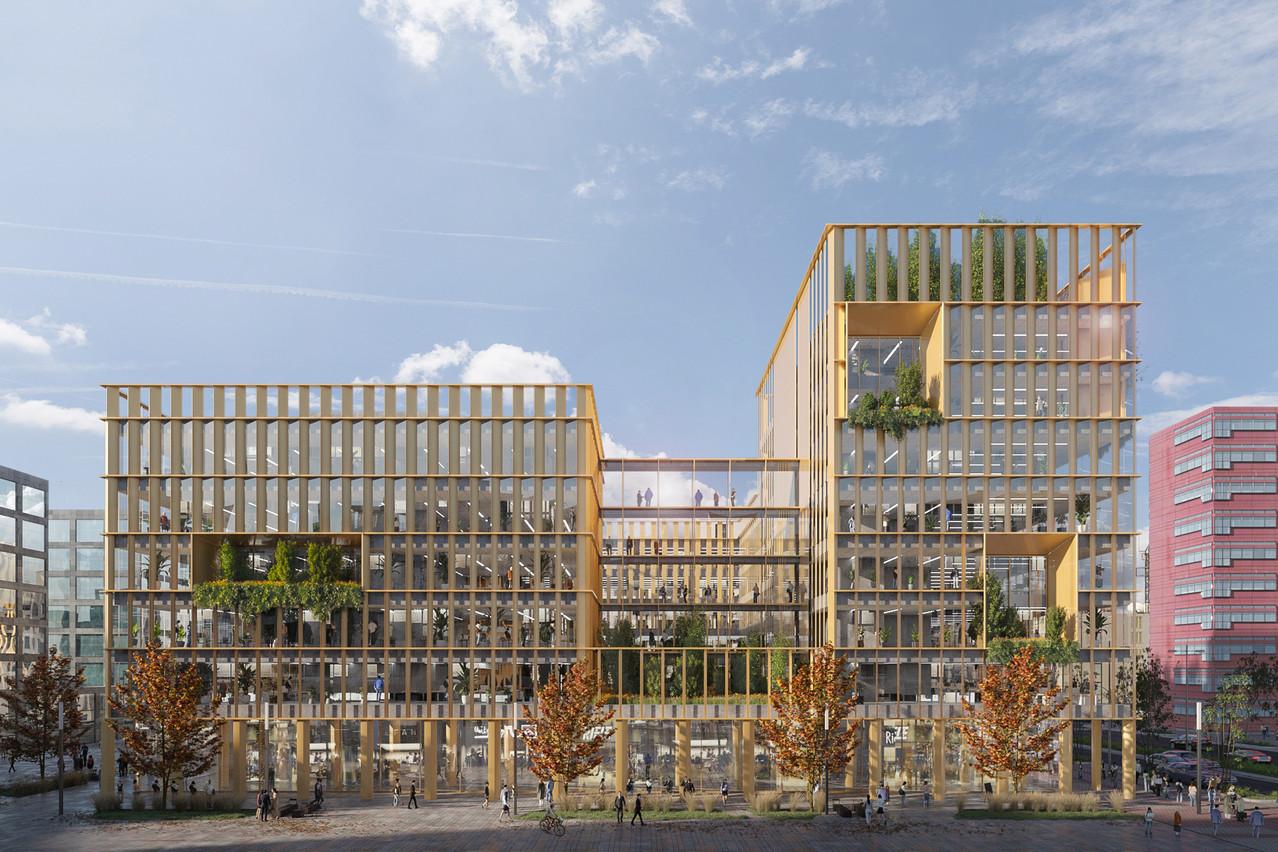 Le projet Square 42, développé par Atenor et conçu par A2M et Moreno Architecture et Associés, est un des grands ensembles de bureaux à venir à Belval. (Illustration: A2M-Moreno Architecture et Associés)
