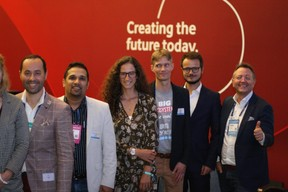 José Soares (SnT), Pranjul Shah (Université du Luxembourg), Fatima Cardoso (Vodafone),  Jonas Mercier (Luxinnovation) et Pedro Castilho (Verbalius) à droite ((Photo: Cristina Tita Andrez))