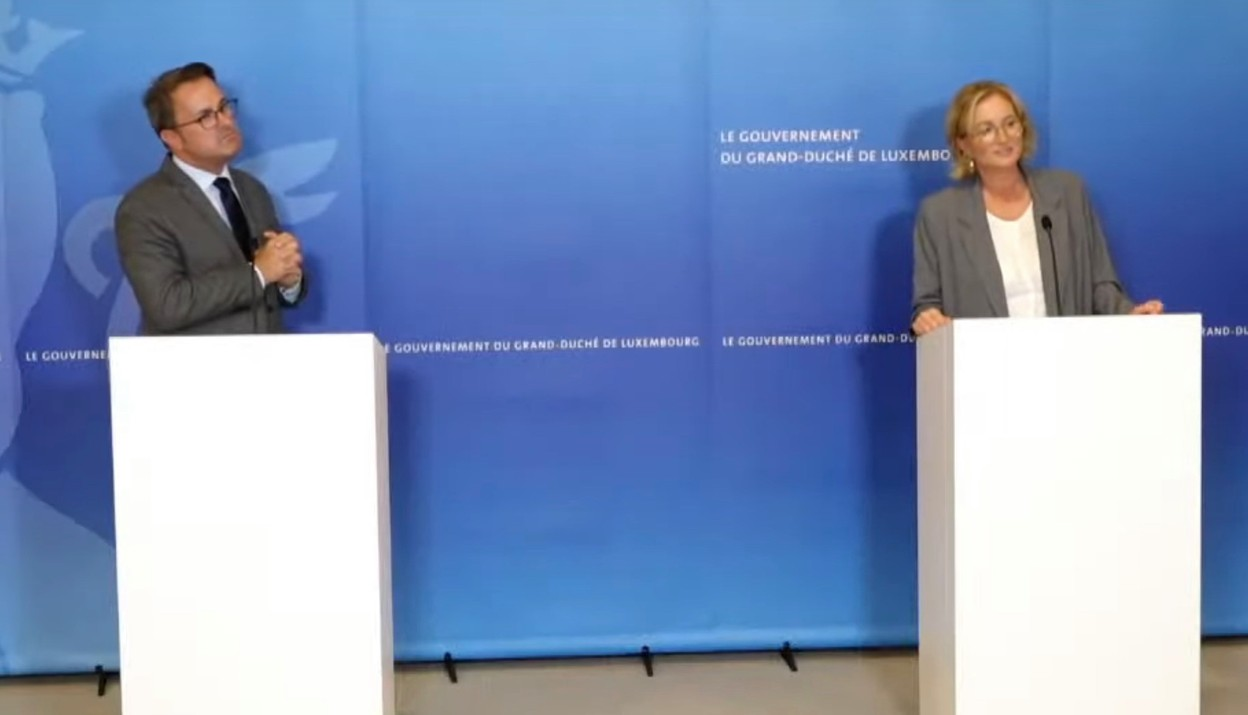 Prime minister Xavier Bettel and health minister Paulette Lenert at Wednesday's press conference Luxembourg government screenshot