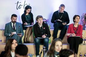Pierre-Olivier Rotheval (BIL), Diane Tea (LBAN), Eugène Mizin (Job Today), Laurent Kratz (Scorechain) et Vania Henry (Legitech) ((Photo: Jan Hanrion/ Maison Moderne))