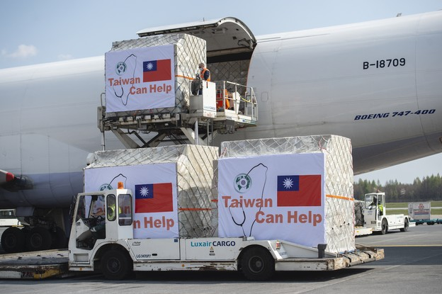 A shipment of donations of aid from Taiwan to combat Covid-19 arrives by airplane from Taipeh to Luxemburg airport on April 9, 2020. The shipment includes masks with destination Italy and Spain, as well as bilateral donations to other member states.