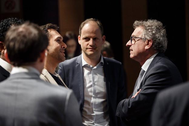 Ici entre Nasir Zubairi (Lhoft) et le ministre des Finances Pierre Gramegna, le CEO de Talkwalker, Robert Glaesener, a annoncé le rachat de Nielsen Social. Un moyen d'asseoir encore la présence aux États-Unis de la société née au Luxembourg. (Photo: Archives Paperjam)