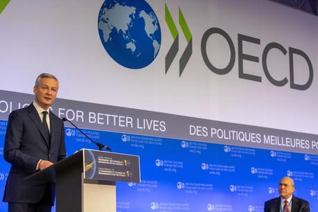 Faute d'accord à l'OCDE, le ministre français de l'Économie, Bruno Le Maire, a indiqué que la France attendait le paiement de sa taxe Gafa pour la fin de l'année et du solde en début d'année prochaine. (Photo: OCDE)