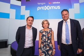 Xavier Bettel (Premier ministre), Dominique Leroy (CEO du groupe Proximus) et Gérard Hoffmann (CEO de Proximus Luxembourg). ((Photo: Nader Ghavami))