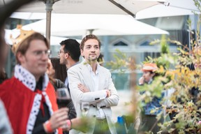 Bram ter Harmsel  with  Les Hommes Amsterdam , seen at Delano's 10th anniversary party, 13 July 2021. Simon Verjus/Maison Moderne