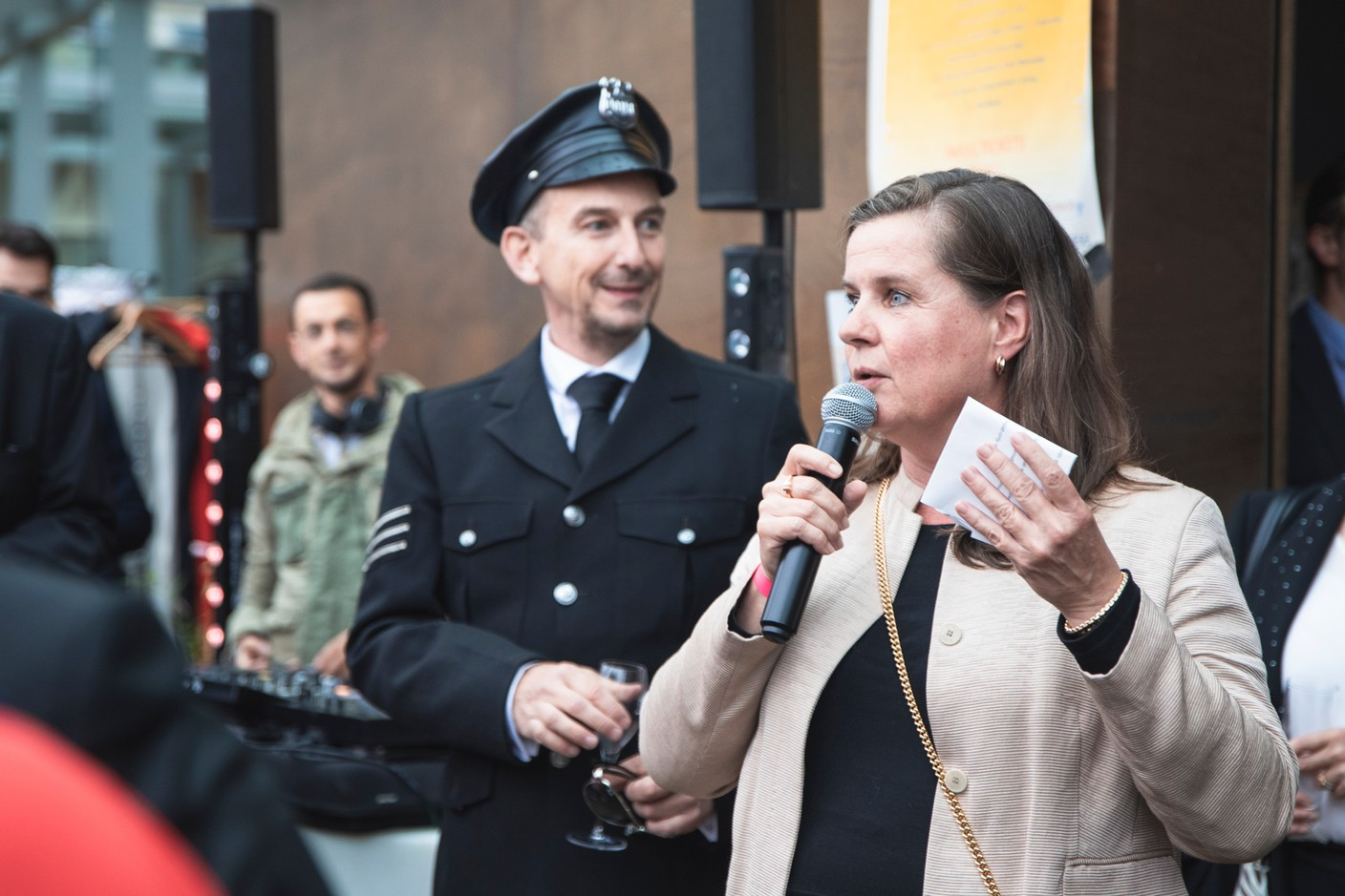 Geraldine Knudson, CEO of Maison Moderne, the company that publishes Delano, is seen speaking during Delano's 10th anniversary party, 13 July 2021. Simon Verjus/Maison Moderne