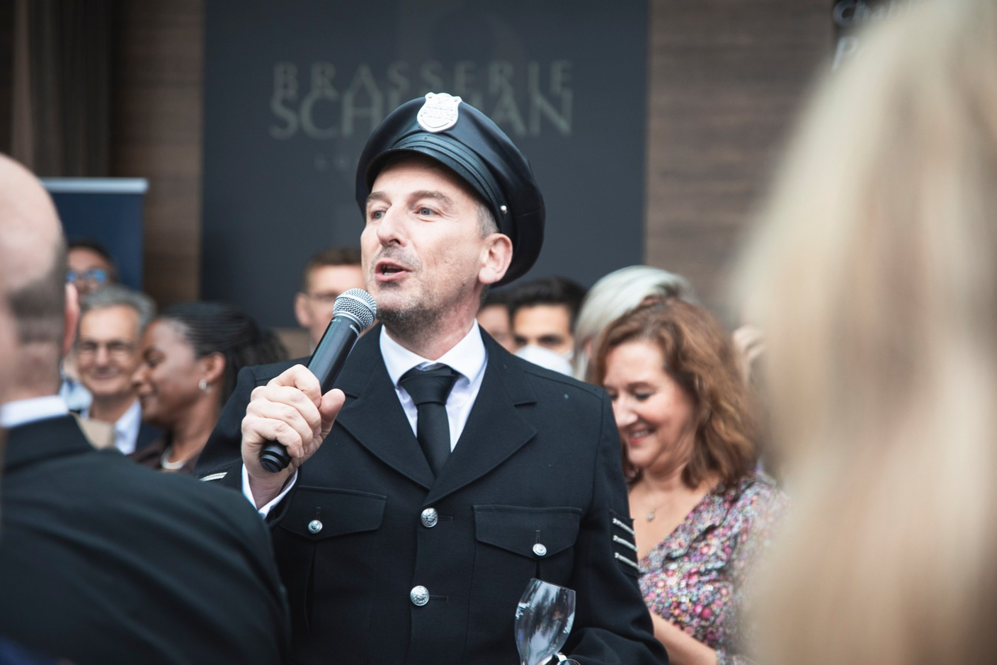 Jim Kent from the Paperjam + Delano Club is seen speaking during Delano's 10th anniversary party, 13 July 2021. Simon Verjus/Maison Moderne