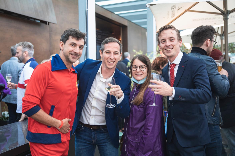 Paperjam + Delano Club's Pierre-Yves Lanneau Saint-Léger (left) and Emilie Bertoni (2nd right);Marc Lefevre of TMC Luxembourg (on right). Simon Verjus/Maison Moderne
