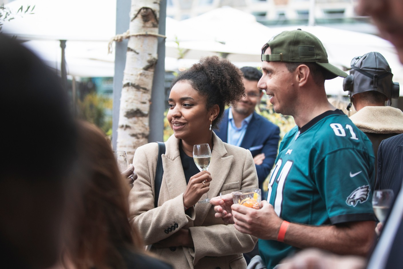 Lara Dieudonné of the British embassy and Yanniss Levron of Change Digital are pictured at Delano's 10th anniversary party, 13 July 2021. Simon Verjus/Maison Moderne