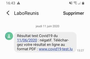 24 heures après le test, le résultat tombe par SMS. (Capture d'écran)
