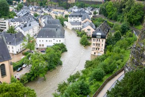 The Alzette river is seen overflowing its banks in the capital's Grund district, 15 July 2021. Matic Zorman / Maison Moderne