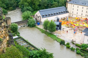 Floodwaters are seen approaching the Neimënster cultural centre, in the capital's Grund district, 15 July 2021. Matic Zorman / Maison Moderne