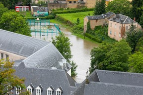 Luxembourg City's Grund district is seen following flooding, 15 July 2021. Matic Zorman / Maison Moderne