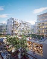Les espaces extérieurs se développeront sur deux niveaux, le plus haut étant à destination des habitants. ((Illustration: BPI Real Estate, Unibra Real Estate, ArtBuild Architects))