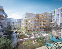Au cœur de l'îlot, la toiture du socle est transformée en terrasse commune. ((Illustration: BPI Real Estate, Unibra Real Estate, ArtBuild Architects))