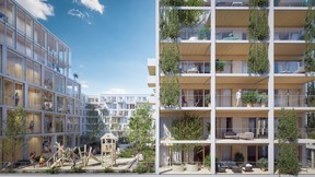 Une aire de jeu est également prévue pour les plus jeunes. ((Illustration: BPI Real Estate, Unibra Real Estate, ArtBuild Architects))