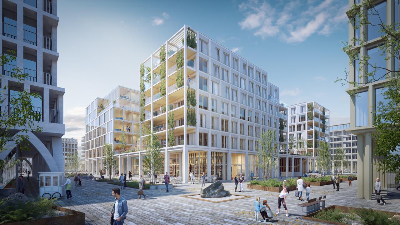 Commerces, bureaux et logements sont rassemblés dans un ensemble ouvert sur une cour intérieure. (Illustration: BPI Real Estate, Unibra Real Estate, ArtBuild Architects)
