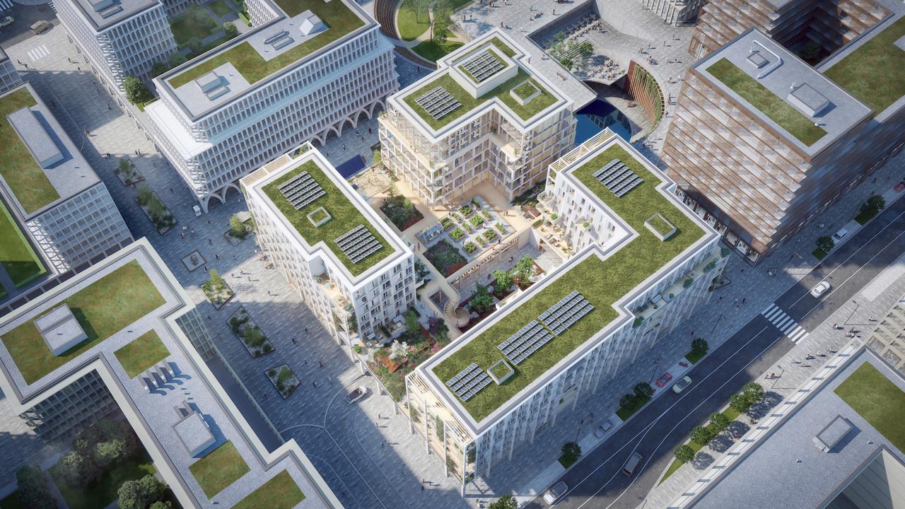 Vue aérienne de l'îlot. (Illustration: BPI Real Estate, Unibra Real Estate, ArtBuild Architects)