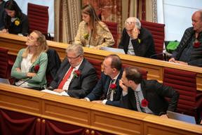 LSAP and déi Gréng follow the prime minister's speech. (Photo: Romain Gamba/Maison Moderne)
