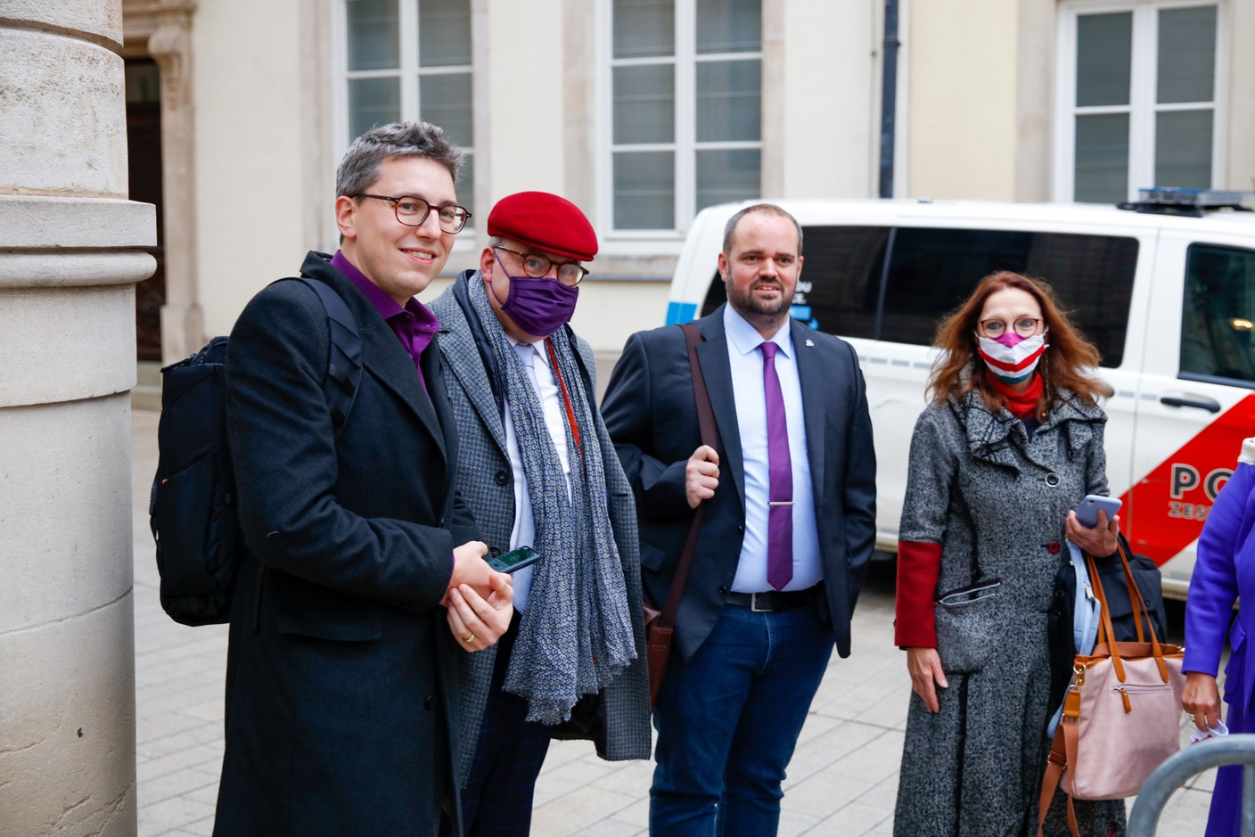 Sven Clement (Piratepartei),Marc Goergen (Piratepartei), 1st and 3rd from left to right. (Photo: Romain Gamba/Maison Moderne)