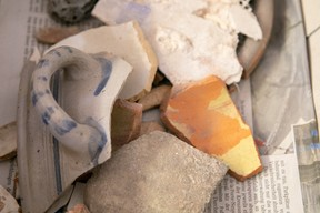 Shards of pottery can be seen mixed with rubble Matic Zorman / Maison Moderne