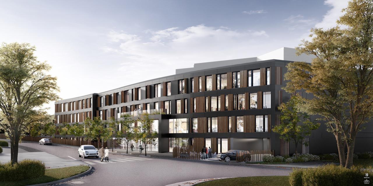 La façade de ce bâtiment de bureaux associe éléments thermolaqués et en bois. (Illustration: iPlan by Marc Gubbini Architectes)