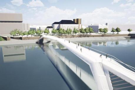 La nouvelle passerelle des Cygnes sera réservée aux piétons et aux vélos. ( Illustration: Mairie de Thionville )