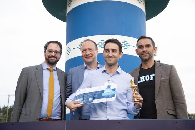 Tom Théobald (ministère des Finances), Pascal Denis (KPMG), Matthieu Cottin (Tokeny) et Nasir Zubairi (CEO de la Lhoft) lors de la cérémonie des derniers Fintech Awards. (Photo: Paperjam)