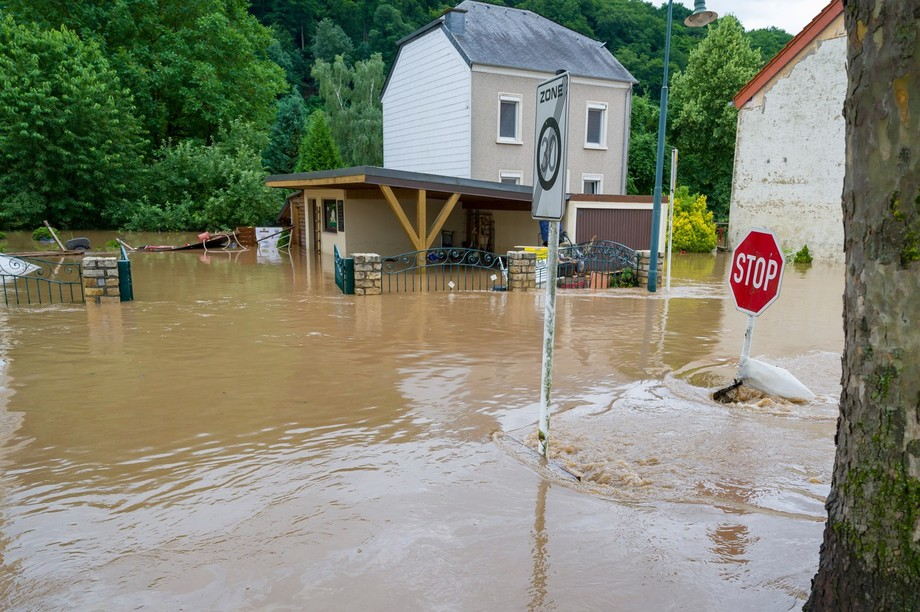 Photo shows a flooded street in Born, Eastern Luxembourg, on 15 July, 2021 Jean-Christophe Verhaegen