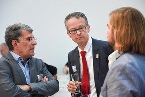 Prof. Dr. Werner Tillmetz (ZSW), Dr Stephan Herbst (Toyota Motor Europe) et Thorsten Herbert (National Organization for Hydrogen and Fuel Cell Technology) ((Photo: Total Luxembourg))