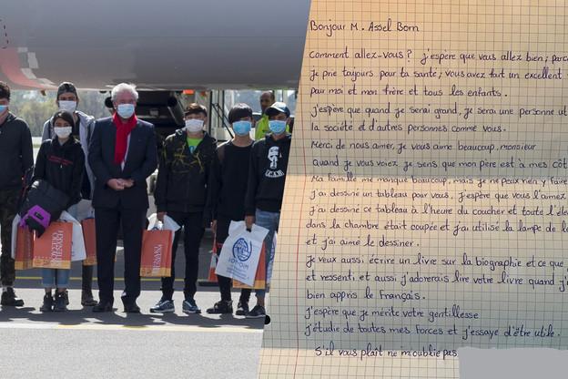 Le ministre Jean Asselborn avait accueilli en personne les 12 enfants lors de leur arrivée au Luxembourg. (Photos: SIP/Jean-Christophe Verhaegen, Jean Asselborn/Facebook)