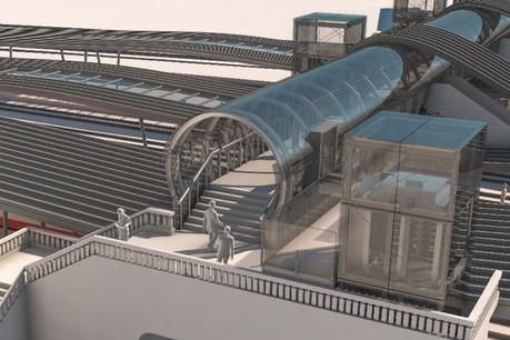 La nouvelle passerelle de Bonnevoie, entièrement en verre, sera finie en décembre 2021. (Illustration :Ministère des Infrastructures)