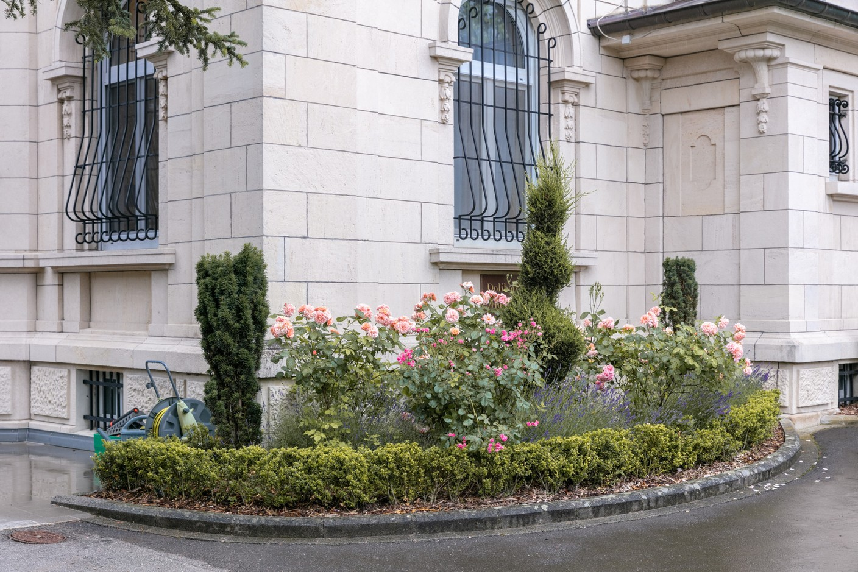 A rose garden near the front entryway Romain Gamba/Maison Moderne
