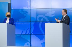 Paulette Lenert et Xavier Bettel ont détaillé la stratégie de vaccination du Luxembourg. (Photo: SIP / Jean-Christophe Verhaegen)