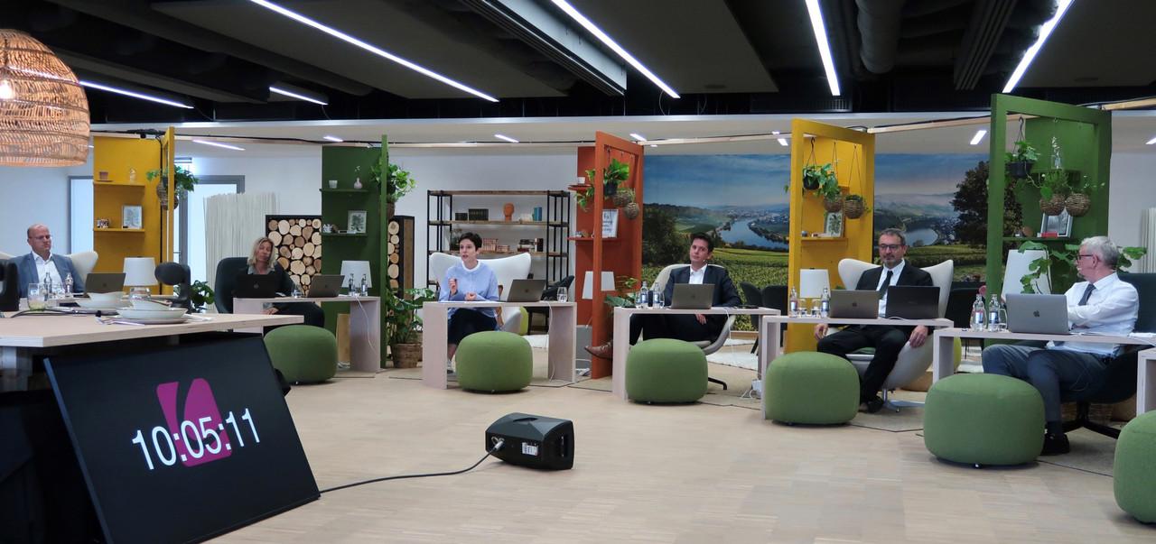 De gauche à droite, Charles Schroeder (président de la Luxembourg Event Association), Carole Platz (Emotion), Michele Vallenthini (modératrice), Lex Delles, François Lafont, François Koepp (directeur de l'Horesca), parmi les intervenants au webinar de jeudi matin. MECO