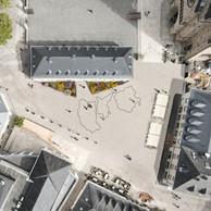 Au sol, les trois tracés du Mullerthal Trail sont repris en petit format. ((Illustration : Lacord Architecte-Yo Studio))