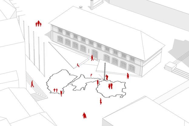 Lacord Architecte et Yo Studio ont proposé une intervention au sol sur la place de la Porte St Willibrord, à Echternach. (Illustration:Lacord Architecte et Yo Studio)